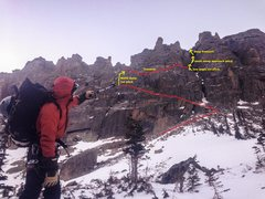 Rock Climbing Photo: Billy pointing out our route for the North Gully s...