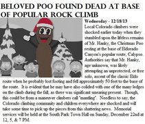 Rock Climbing Photo: Mr. Hanky, Dead.