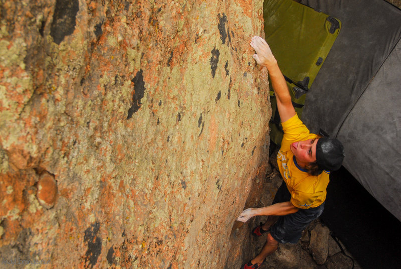 Rock Climbing Photo: Chris sticking his tongue out at the opening moves...