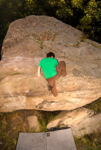 A very symmetrical photo of Chris topping this boulder out on as we warmed-up before heading to The Corridor. <br> <br> Photo date: September, 2008.