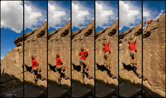 Rock Climbing Photo: Sequence of a simple but fun dyno problem.   Photo...