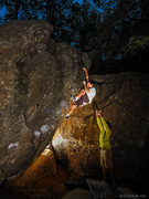 Rock Climbing Photo: Gabe taking the high route on Lip Tranverse while ...