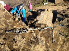 Rock Climbing Photo: The anchor situation is a strange mix of steel spi...