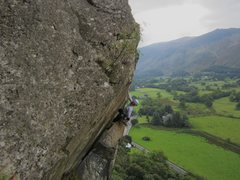 Rock Climbing Photo: Andy Ross on The Bludgeon ..Shepherds Crag Borrowd...