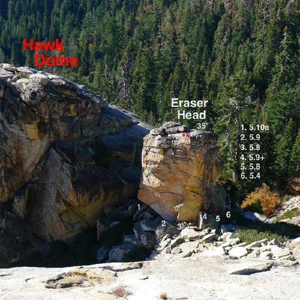 Rock Climbing Photo: Topo of Eraser Head