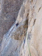 Rock Climbing Photo: looking back at the P1 belay from atop the huge fl...