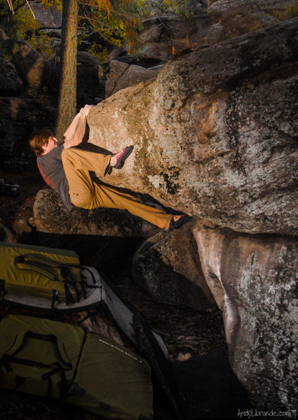 Rock Climbing Photo: The crazy mantle of the Super Mario Boulder. I bel...