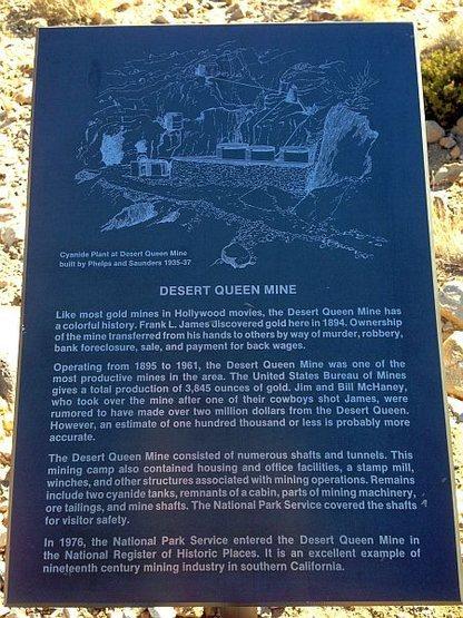 Desert Queen Mine info sign, Joshua Tree NP