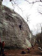 Rock Climbing Photo: Geoff Farrar on nubble face in December.