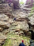 Rock Climbing Photo: On Lounge Lizard (left line)
