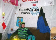 Rock Climbing Photo: warming tent and beer supply
