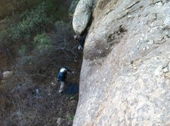Rock Climbing Photo: Pulling the starting roof on the first ascent.