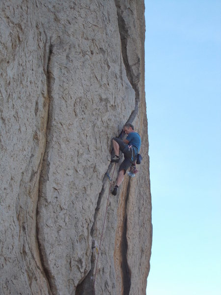 The crux was slightly wide hands.