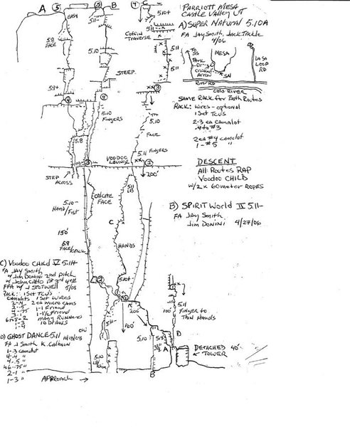 I saved this topo from a Kurt Smith authored online article a awhile ago intending to go check this route out, but haven't yet. Looks like Ari's is similar.