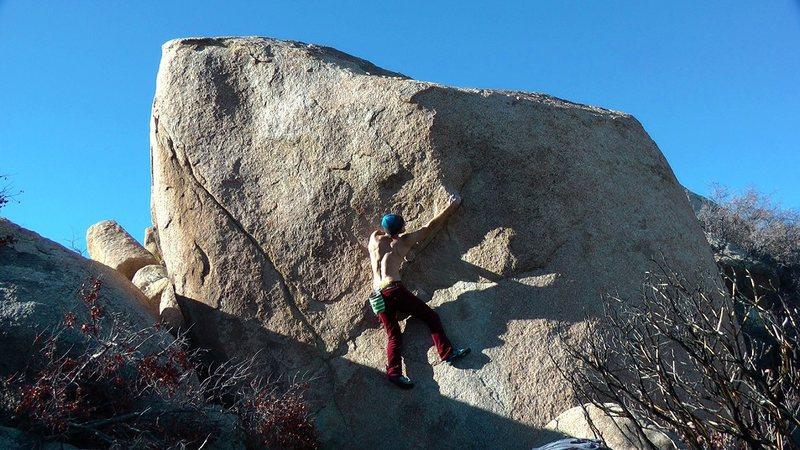 Rock Climbing Photo: Feeling it out. Big finish!