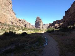 Rock Climbing Photo: La Piedra Parada from Buitrera Cayon