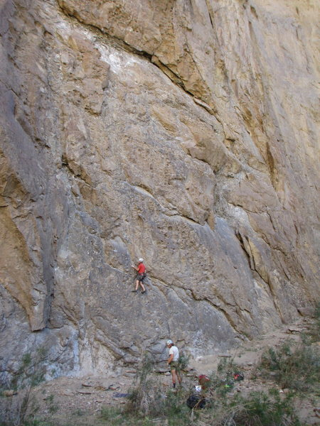 James Anderson and Bill Bjornstad climbing a 5.10 at Ortigas.