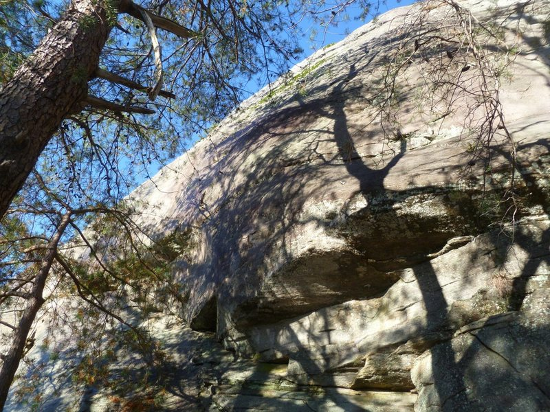 Three hard bouldery climbs between Dust Bowl Daze and By Gully. All climbs bolted. Bolted anchors at the top <br> <br> A Wing and a Prayer is the left climb