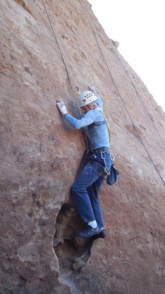 "Rock Climbing Photo: Working the crux of ""Heart."""