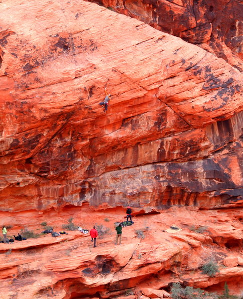 Unknown climber, unknown route, Calico Hills (between 1st and 2nd pullout parking lots). Dec. 19, 2013