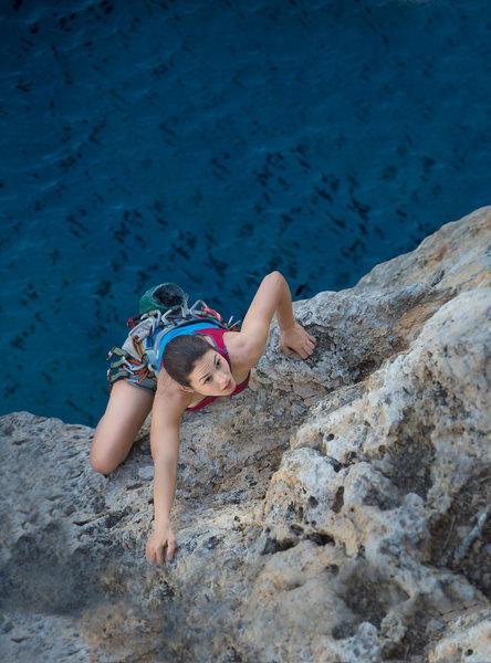 Rock Climbing Photo: Spectacular climbing over the Caribbean Sea