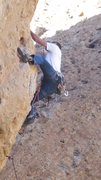 "Rock Climbing Photo: Working the heelhook low on ""Exhilaration.&qu..."