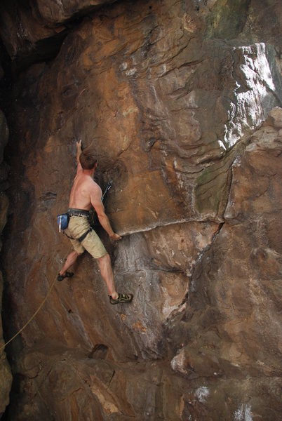 Rock Climbing Photo: Bumping off the massive undercling.