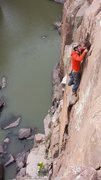 Rock Climbing Photo: View of Peterman's Variation from the railing area