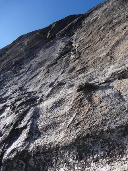 Looking up at Pitch 8 from the belay.