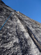 Rock Climbing Photo: Looking up at the crux section of Pitch 7