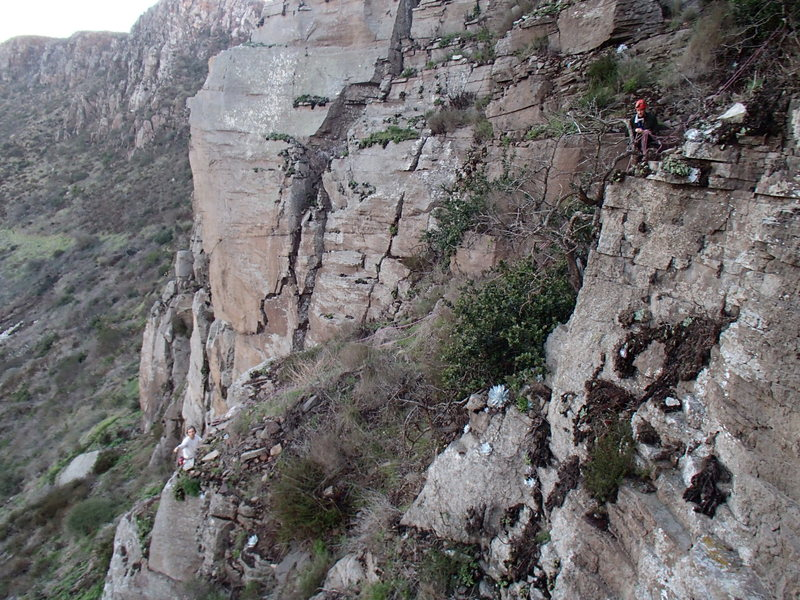 Rock Climbing Photo: Matt on Left is at ledge top of route Spanish Stee...