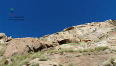 Rock Climbing Photo: Blue Sky Wall, climbers on Bright Eyes.