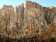 Rock Climbing Photo: Blue- Jet Stream Green- Tiers of the Setting Sun