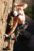 Rock Climbing Photo: Corey makes the move...