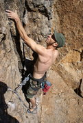 Rock Climbing Photo: Matt B cleans up the flake and goes north to the a...