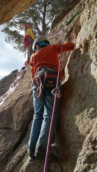 My 8 year old son exiting the chimney at the top of pitch 3. We used the first ledge with the tree as belay #3 instead of continuing up to the next ledge. #4 goes up to the next ledge and go across to the buttress and just left. protect that swing as much as possible if you choose to use the tree instead. Fun!