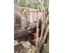 Rock Climbing Photo: Red arrow represents approximate path of the probl...