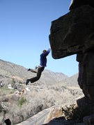 Rock Climbing Photo: Feet cutting loose after the throw to the lip.