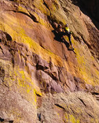 Rock Climbing Photo: Exiting the crux moves after some very unique clim...
