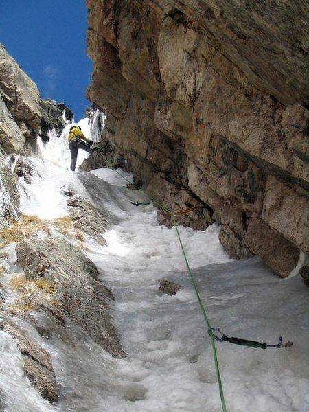 Leading up the mixed terrain on Martha