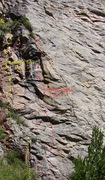 Rock Climbing Photo: Comes A Time (yellow) starts just left of Transfor...