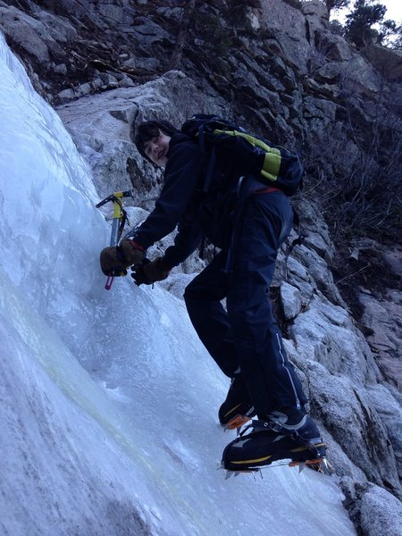 "Donovan ""Dark Warrior"" Allen, 15, exploring ice in Golly Gully"