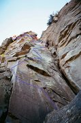 Rock Climbing Photo: Yellow is the top section or Pitch II of Man Can b...