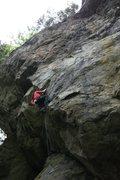 "Rock Climbing Photo: Mariana rounding the bend on ""Bumbershoot&quo..."