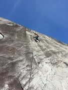 Rock Climbing Photo: Jofo leading the juggy pitch 2.