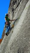 Rock Climbing Photo: chuck leadin out loose lips...just entering the cr...
