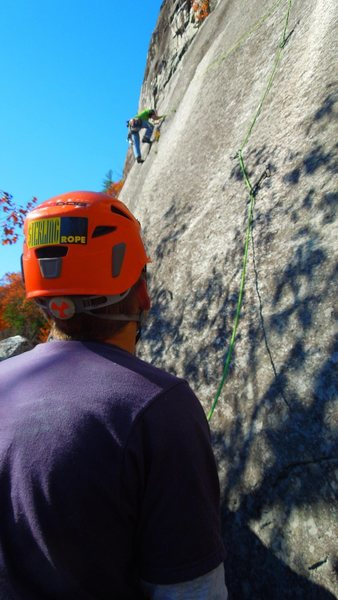 Rock Climbing Photo: beautiful day on whitehorse. chuck on lead seventh...