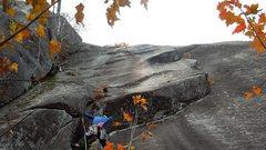 Rock Climbing Photo: pokey getting alpinish on the start