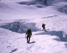 Rock Climbing Photo: Crossing Robson Glacier towards Kain Face 1989.