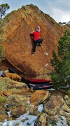 Rock Climbing Photo: Working the crux sequence of Sage Truth.